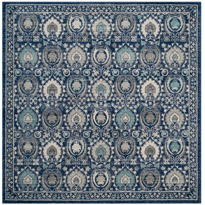 Aegean Blue / Ivory Area Rug Rug Size: Square 67 x 67