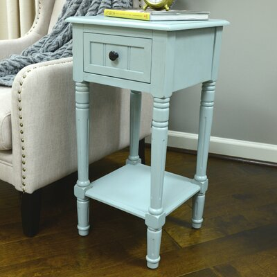 Everly 1 Drawer End Table Finish: Antique Iced Blue
