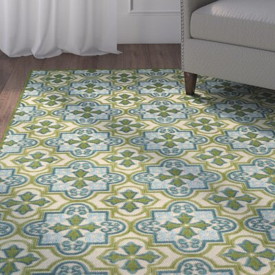 Meriden Machine Woven Green Indoor/Outdoor Area Rug Rug Size: 5 x 76