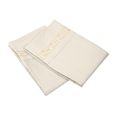 Garrick 3000 Series Solid Regal Embroidery Pillowcase Size: King, Color: Ivory