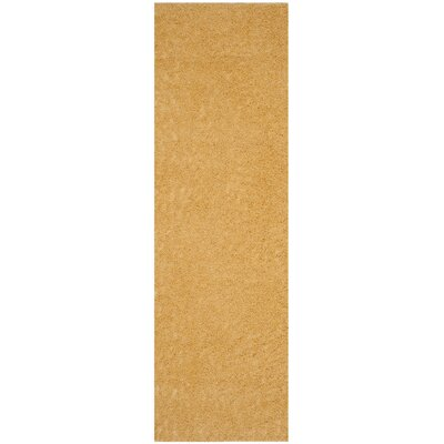 Curran Shag Gold Area Rug Rug Size: Runner 23 x 8