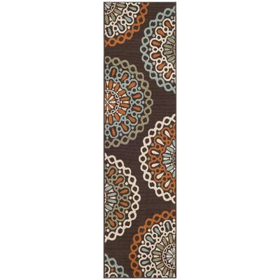 Tierney Brown/Orange Indoor/Outdoor Area Rug Rug Size: Rectangle 27 x 5