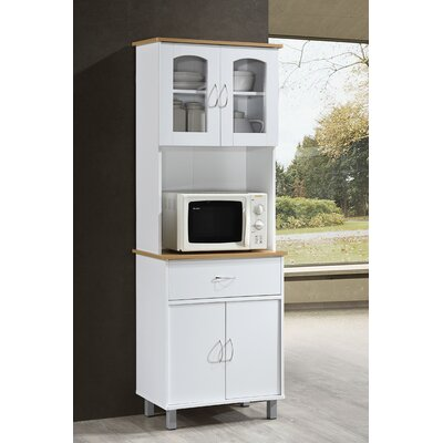 Reynolds Kitchen Island China Cabinet Color: White