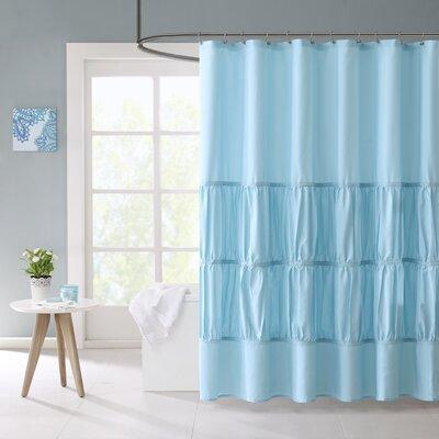 Hugh Microfiber Shower Curtain Color: Teal