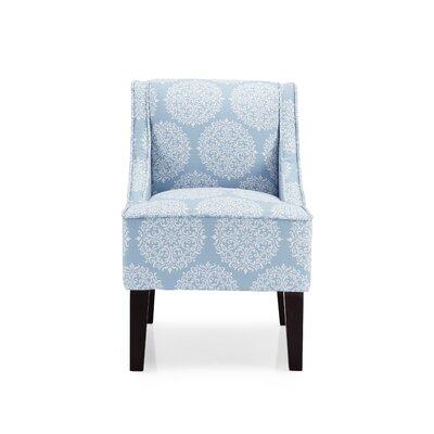 Adams Swoop Armchair Upholstery: Sky, Pattern: Damask