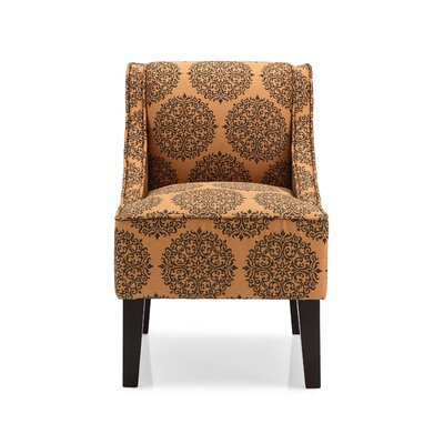 Adams Swoop Armchair Upholstery: Spice, Pattern: Damask
