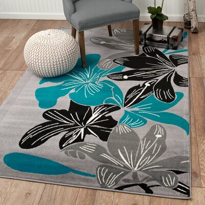 Frieda Gray Area Rug Rug Size: Rectangle 74 x 106