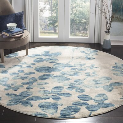 Aegean Gray/Light Blue Area Rug Rug Size: Round 67