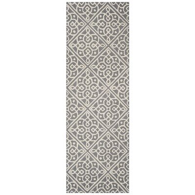Mahoney Hand-Tufted Dark Gray/Ivory Area Rug Rug Size: Rectangle 26 x 8