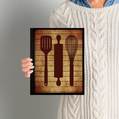 'Kitchen Utensils' Framed Graphic Art on Wrapped Canvas ANDO5604 33616880