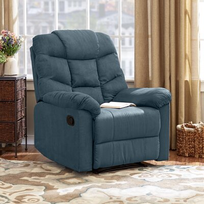 Gertrude Manual Wall Hugger Recliner Upholstery: Blue