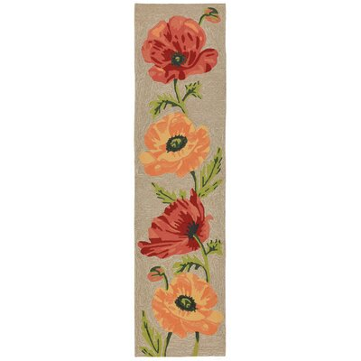 Haverstraw Poppies Hand-Tufted Yellow/Red Indoor/Outdoor Area Rug Rug Size: Runner 2 x 8