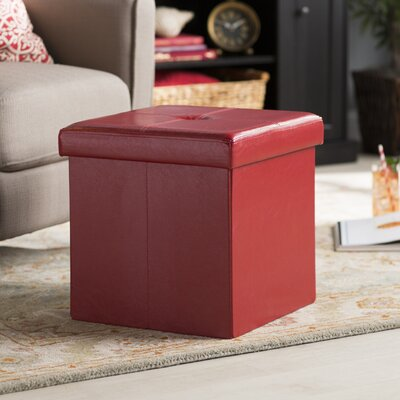 Carisbrooke Cube Upholstered Storage Ottoman Upholstery: Red