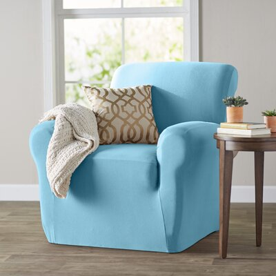 Box Cushion Armchair Slipcover Color: Aqua