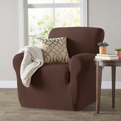 Box Cushion Armchair Slipcover Color: Brown