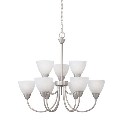 Sheldrake 9-Light Shaded Chandelier Finish: Matte nickel