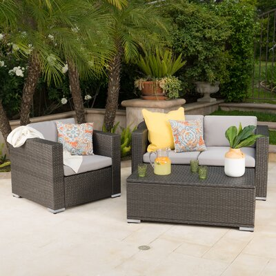 Smithton Outdoor Wicker 3 Piece Deep Seating Group with Cushions Frame Finish: Gray