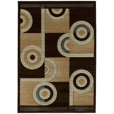 Ganley Spiral Canvas Chocolate Rug Rug Size: 5'3