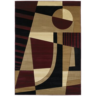 Ganley Urban Angles Burgundy Rug Rug Size: Rectangle 53 x 76