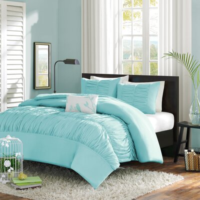 Hugh Reversible Duvet Cover Set Color: Aqua, Size: Twin / Twin XL