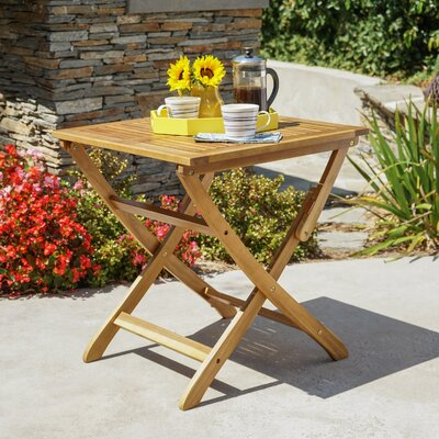 Charlemont Outdoor Foldable Wood Bistro Table Color: Natural