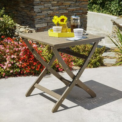 Charlemont Outdoor Foldable Wood Bistro Table Color: Gray
