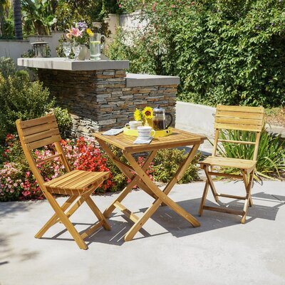 Charlemont Outdoor 3 Piece Foldable Wood Bistro Set Color: Natural
