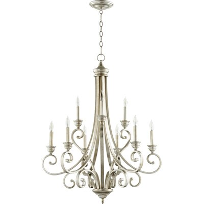 Asheville 9-Light Candle-Style Chandelier Finish: Aged Silver Leaf