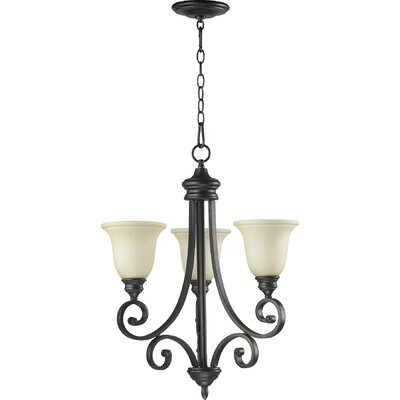 Asheville 3-Light Hanging Shaded Chandelier Finish: Oiled Bronze