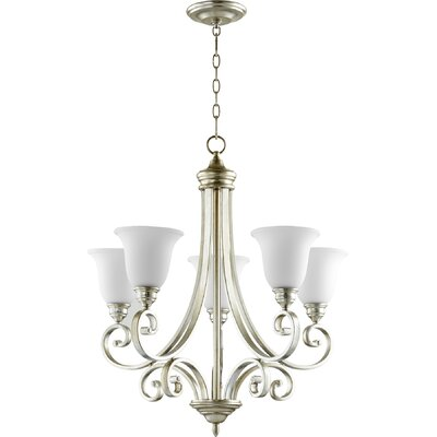 Asheville 5-Light Shaded Chandelier Finish: Aged Silver Leaf