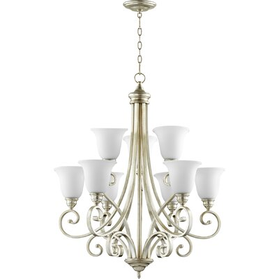 Asheville Transitional 9-Light Shaded Chandelier Finish: Aged Silver Leaf