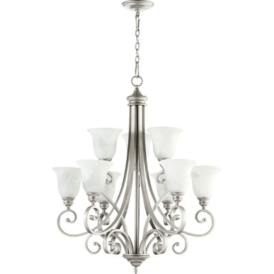 Asheville Transitional 9-Light Hanging Shaded Chandelier Finish: Classic Nickel