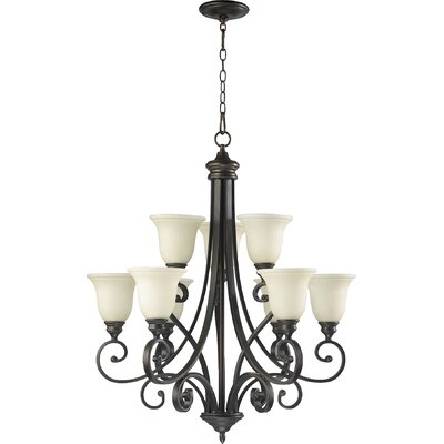 Asheville Transitional 9-Light Hanging Shaded Chandelier Finish: Oiled Bronze