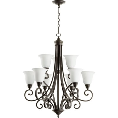 Asheville Transitional 9-Light Shaded Chandelier Finish: Oiled Bronze