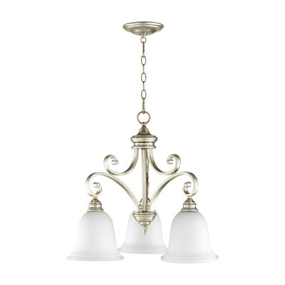 Asheville Transitional 3-Light Shaded Chandelier Finish: Aged Silver Leaf