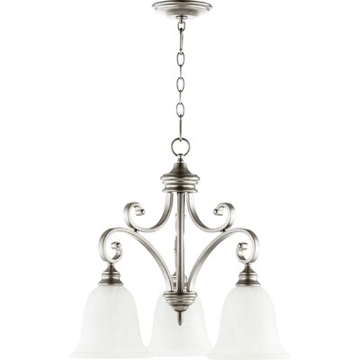 Asheville Transitional 3-Light Hanging Shaded Chandelier Finish: Classic Nickel