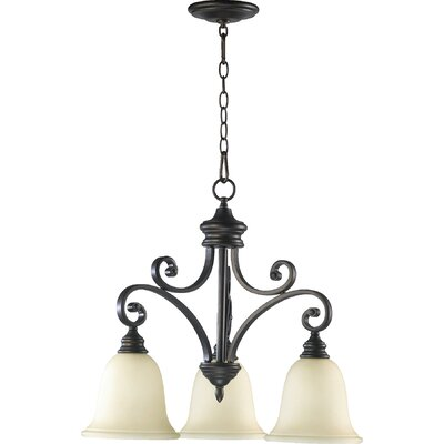 Asheville Transitional 3-Light Hanging Shaded Chandelier Finish: Oiled Bronze