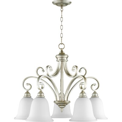 Asheville 5-Light Bell Shaded Chandelier Finish: Aged Silver Leaf