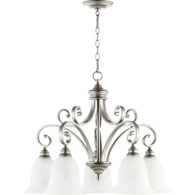 Asheville 5-Light Glass Shaded Chandelier Finish: Classic Nickel