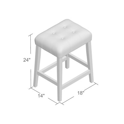 Perot 24 Bar Stool Finish: Mid-Tone Brown, Upholstery: Ivory
