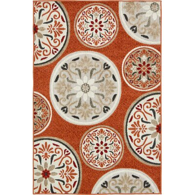 Niagara Orange/Beige Indoor/Outdoor Area Rug Rug Size: Rectangle 4 x 6