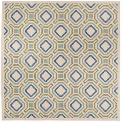 Tierney Cream & Green Inddor/Outdoor Area Rug Rug Size: Square 67