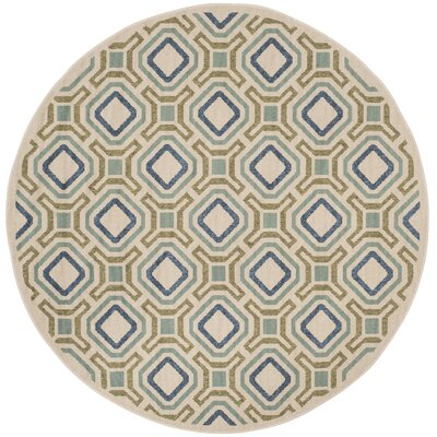 Tierney Cream & Green Inddor/Outdoor Area Rug Rug Size: Round 67