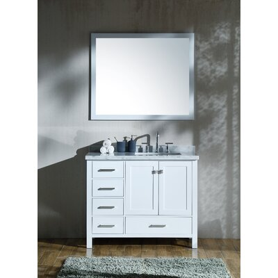 Marine 43 Single Bathroom Vanity Set with Mirror Base Finish: White