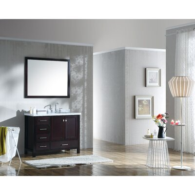 Marine 43 Single Bathroom Vanity Set with Mirror Base Finish: Espresso
