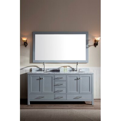 Marine 73 Double Bathroom Vanity Set with Mirror Base Finish: Grey