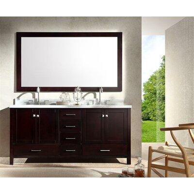 Marine 73 Double Bathroom Vanity Set with Mirror Base Finish: Espresso
