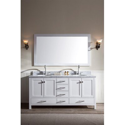 Marine 73 Double Bathroom Vanity Set with Mirror Base Finish: White
