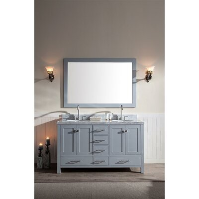 Marine 61 Double Bathroom Vanity Set with Mirror Base Finish: Grey