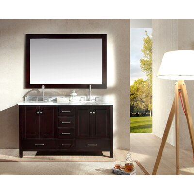 Marine 61 Double Bathroom Vanity Set with Mirror Base Finish: Espresso